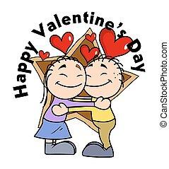 Cute Happy Cartoon Valentine Couple