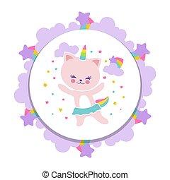 Cute happy cat banner design. Cartoon kitten with stars and rainbow