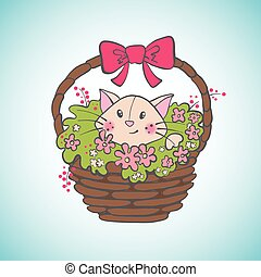 Cute happy cat in basket with flowers.