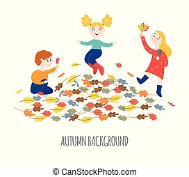 Cute happy children playing outdoors and gathering colorful tree leaves in autumn.