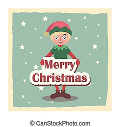 Cute happy Christmas elf holding a sign