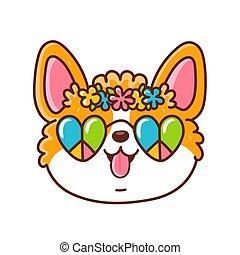 Cute happy corgi dog face with hippie glasses