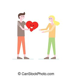 Cute happy couple with red heart