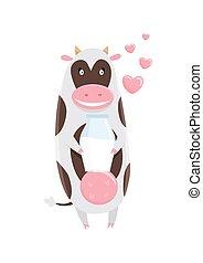 Cute happy cow cartoon with milk bottle.