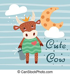 Cute, happy cow characters. Idea for print t-shirt.