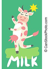 Cute happy cow with golden bell having fun, funny farm animal cartoon character
