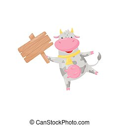 Cute happy cow with wooden signboard, funny farm animal cartoon character vector Illustration on a white background