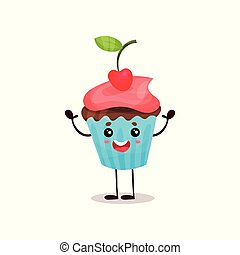 Cute happy cupcake cartoon character vector Illustration
