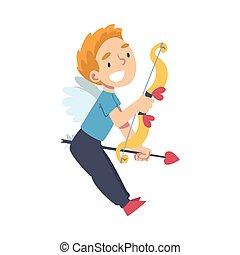 Cute Happy Cupid Boy, Adorable Joyful Kid Angel Cherub Shooting with Bow and Arrow Cartoon Style Vector Illustration