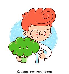 Cute happy doctor hold broccoli