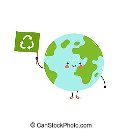 Cute happy Earth planet with recycling flag