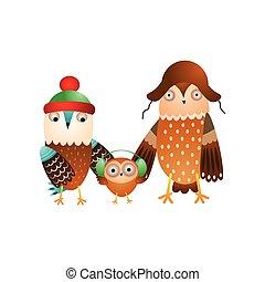 Cute happy family of wild owl in winter headwear