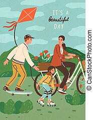 Cute happy family riding bike, skateboard and roller skating outdoors. Smiling mother, father and son performing sports or leisure activity in park. Summer vacation. Flat cartoon vector illustration.