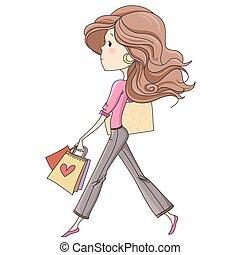 Cute, happy, fashion schoolgirl / girl