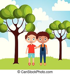cute happy friendly little boys embraced in the park vector...