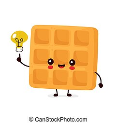 Cute happy funny belgian waffle with light bulb. Vector ...