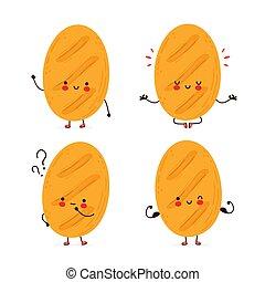 Cute happy funny bread set collection