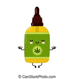 Cute happy funny cannabis CBD oil bottle