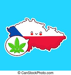 Cute happy funny Czech Republic map and flag character with weed marijuana in speech bubble. Vector flat line cartoon kawaii character illustration icon. Czech Republic, medical cannabis concept