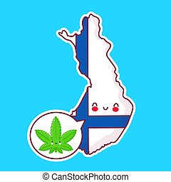 Cute happy funny Finland  map and flag character with weed marijuana in speech bubble. Vector flat line cartoon kawaii character illustration icon. Finland, medical cannabis concept