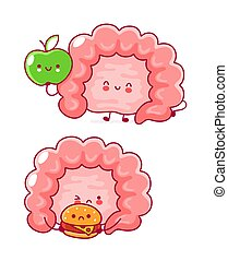 Cute happy funny human intestine organ. Vector flat line ...