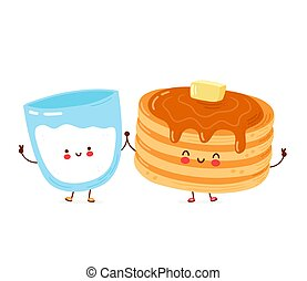 Cute happy funny pancakes and milk glass. Isolated on white background. Vector cartoon character hand drawn style illustration