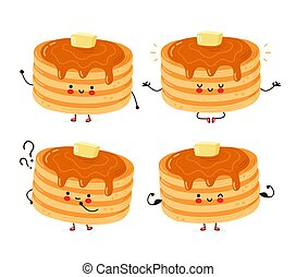 Cute happy funny pancakes set collection. Isolated on white background. Vector cartoon character hand drawn style illustration