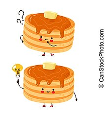 Cute happy funny pancakes with question mark and idea lightbulb. Isolated on white background. Vector cartoon character hand drawn style illustration