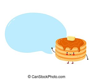 Cute happy funny pancakes with speech bubble. Isolated on white background. Vector cartoon character hand drawn style illustration