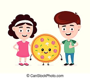 Cute happy funny smiling boy, girl and pizza