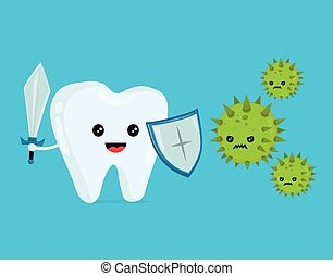 Cute happy funny smiling fighting tooth