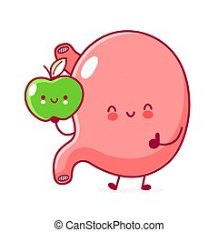 Cute happy funny stomach organ with apple