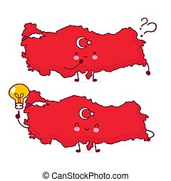 Cute happy funny Turkey map and flag character