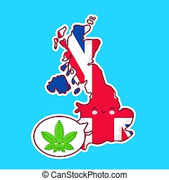 Cute happy funny United Kingdom map and flag character with weed marijuana in speech bubble. Vector flat line cartoon kawaii character illustration icon. UK, medical cannabis concept
