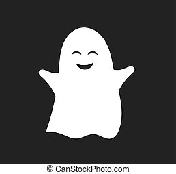 Cute happy ghost character.