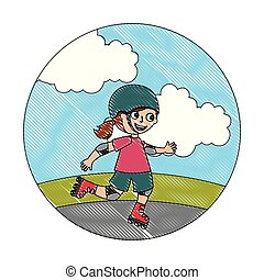 cute happy girl in the roller skates