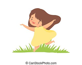 Cute Happy Girl in Yellow Dress Running on Green Meadow, Adorable Little Kid Cartoon Character Playing Outside Vector Illustration