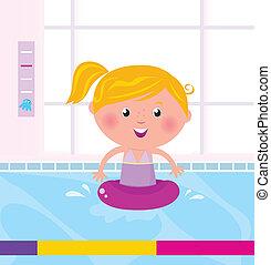 Cute happy girl swimming in water / pool