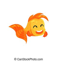 Cute happy goldfish, funny fish cartoon character vector Illustration on a white background