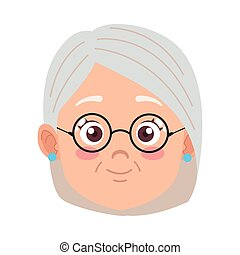 cute happy grandmother with glasses head avatar character