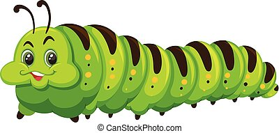 Cute happy green catapillar