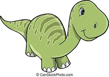 Cute Happy Green Dinosaur Vector