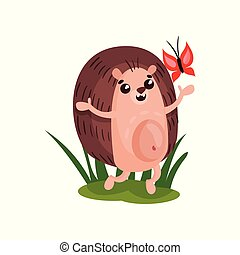 Cute happy hedgehog having fun with butterfly, funny animal cartoon character vector Illustration on a white background