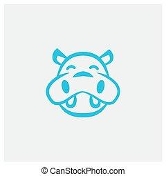 CUTE HAPPY HIPPO KIDS HEAD FACE LINE LOGO DESIGN VECTOR