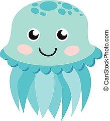 Cute happy jellyfish cartoon character sea animal vector illustration.