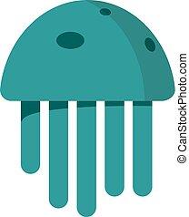 Cute happy jellyfish cartoon character sea animal vector illustration. Nature animal aquatic medusa, aquarium tropical marine.