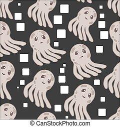 Cute happy jellyfish cartoon character seamless pattern sea animal illustration. Nature animal aquatic medusa, aquarium tropical marine.