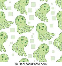 Cute happy jellyfish cartoon character seamless pattern sea animal vector illustration. Nature animal aquatic medusa, aquarium tropical marine.