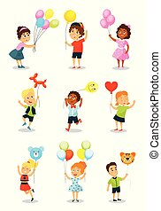 Cute happy kid with balloons, little boys and girls holding colorful balloons of different shapes vector Illustration on a white background.