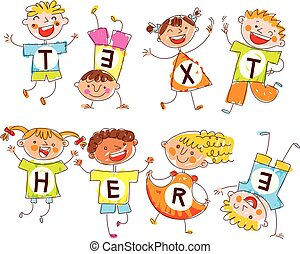 Cute happy kids. In style of children's drawings. Space for text